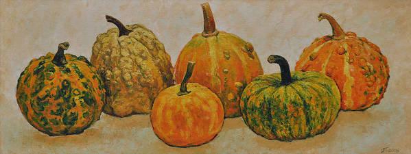 Still Life Art Print featuring the painting Still Life With Pumpkins by Iliyan Bozhanov