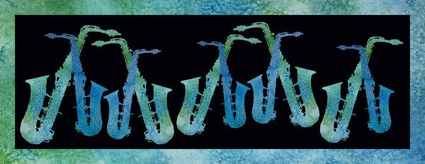 Saxes Art Print featuring the digital art Cool Blue Saxophone String by Jenny Armitage