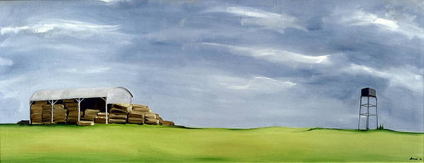 Agriculture & Rural Scenes Print featuring the painting Haybarn Dreaming by Ana Bianchi