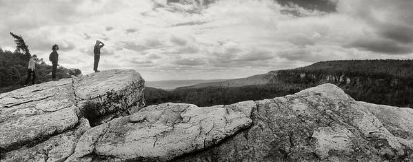 Photography Art Print featuring the photograph Hikers Standing On The Rocks, Gertrudes by Panoramic Images