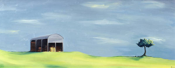 Agriculture & Rural Scenes Print featuring the painting Poulton Fields by Ana Bianchi