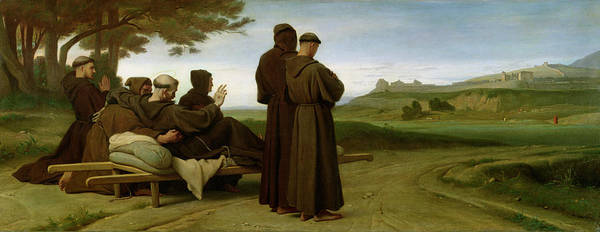 Francis Art Print featuring the painting Saint Francis Of Assisi, While Being Carried To His Final Resting Place At Saint-marie-des-anges by Francois Leon Benouville