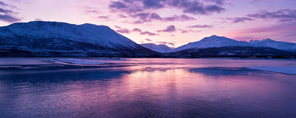 Beautiful Art Print featuring the photograph Twilight Above A Fjord In Norway With Beautifully Colors by Ulrich Schade