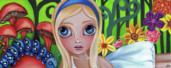 Alice Print featuring the painting Alice Meets The Caterpillar by Jaz Higgins