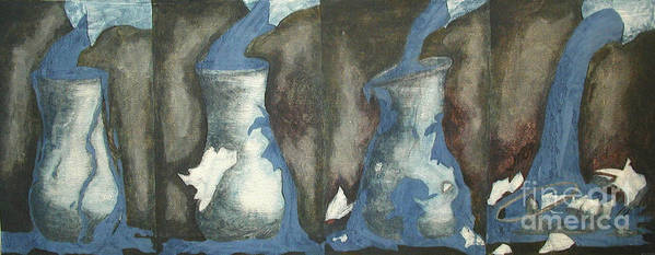 Water Art Print featuring the painting Broke Down- This Vase Cannot Hold Any More by Sarah Goodbread