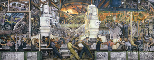 Machinery; Factory; Production Line; Labour; Worker; Male; Industrial Age; Technology; Automobile; Interior; Manufacturing; Work; Detroit Industry Art Print featuring the painting Detroit Industry  North Wall by Diego Rivera