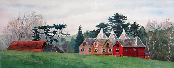 Oast House Art Print featuring the painting Kent Country Houses by Debbie Homewood