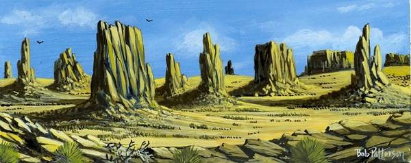 Desert Art Print featuring the painting Monument Valley Spider Mesa by Bob Patterson