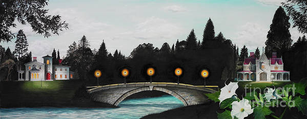 Architecture Art Print featuring the painting Night Bridge by Melissa A Benson