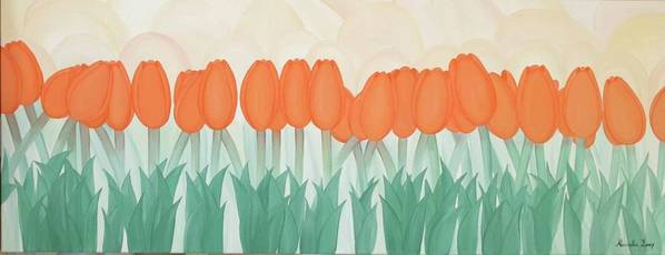 Marinella Owens Art Print featuring the painting Orange Tulipans by Marinella Owens