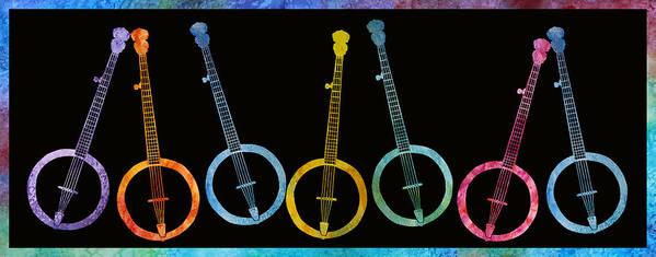 Banjo Art Print featuring the digital art Rainbow Of Banjos by Jenny Armitage