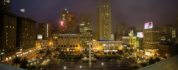 Ca Art Print featuring the photograph Union Square At Night by Mark Wagoner