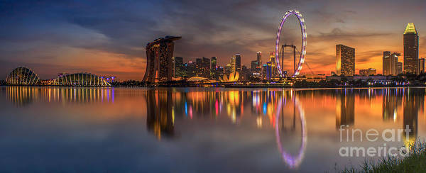View Art Print featuring the photograph Singapore City by Anek Suwannaphoom