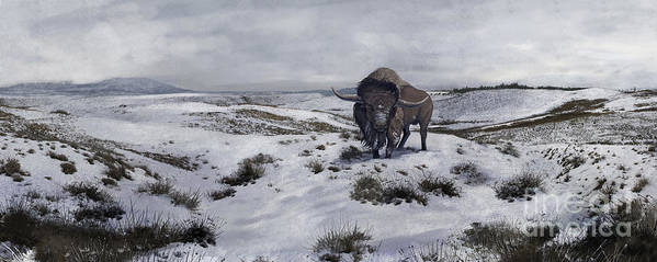 Color Image Print featuring the digital art A Bison Latifrons In A Winter Landscape by Roman Garcia Mora