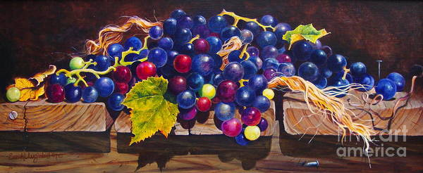 Purple And Red Concord Grapes Cascading Over A Wooden Step With Yellow Twine; Nails And Shadows Print featuring the painting Concord Grapes On A Step by Sarah Luginbill