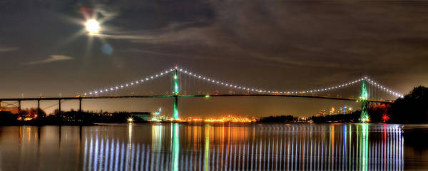 Lions Gate Bridge Print featuring the photograph Lions Gate Bridge In Colour by Naman Imagery