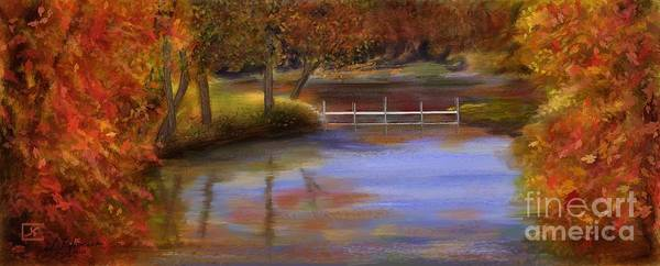 Orange Art Print featuring the painting Orange Autumn Colors Reflected In Water by Judy Filarecki