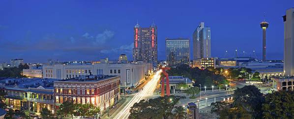 Panorama Of Downtown San Antonio At Night Art Print By