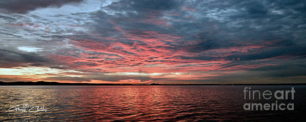 Sunrise Print featuring the photograph Pink And Grey At Sea - Sunrise Panorama by Geoff Childs