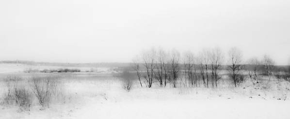 Winter Print featuring the photograph Winter Fields. Monochromatic by Jenny Rainbow