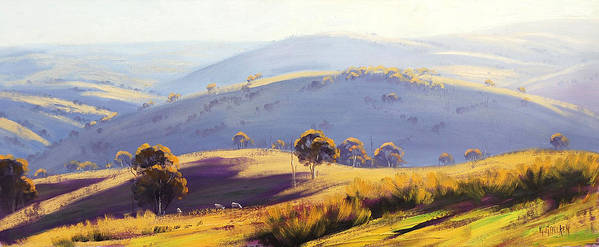 Blue Mountains Art Print featuring the painting Kanimbla Valley by Graham Gercken