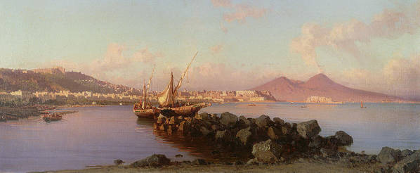 View Of The Bay Of Naples Art Print featuring the painting View Of The Bay Of Naples by Alessandro la Volpe
