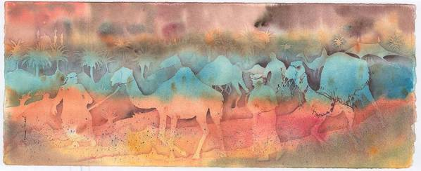 Camels Print featuring the painting After The Race by Beena Samuel