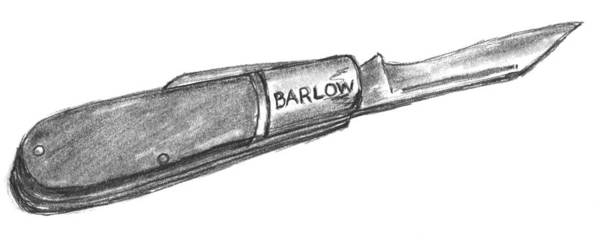 Pocket Knife Art Print featuring the drawing Barlow Knife Well Used by Kevin Callahan