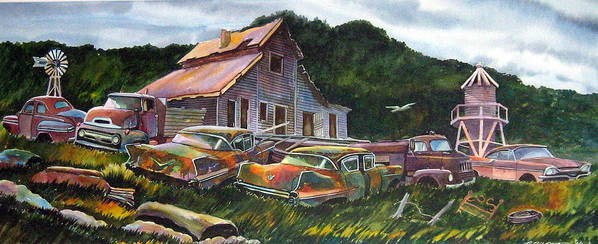 Cadillacs Art Print featuring the painting Cadillac Ranch by Ron Morrison