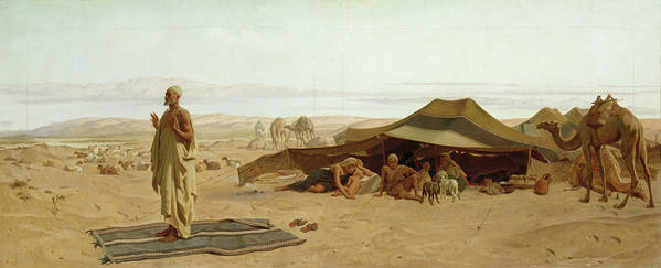 Evening Print featuring the painting Evening Prayer In The West by Frederick Goodall