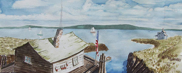 Puget Sound Art Print featuring the painting Fishing Shack With Old Glory by Robert Thomaston