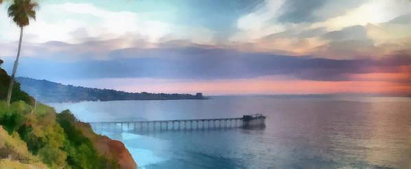 Pier; Scripps; Framed; Sunset; Tides; Waves; Rocks; Shelf; California; La Jolla; Coast; Sea; Ocean; Seascape; Clouds; Photographs; Paintings; Beach; Waves; Shoreline; Landscape; Aerial; Coastal; California; San Diego; La Jolla Beach Art Print featuring the painting La Jolla Scripps Pier by Russ Harris