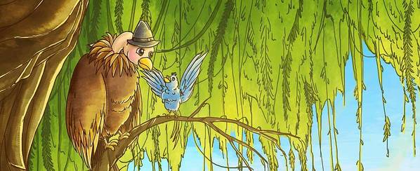Bird Art Print featuring the painting Polly And Her Friend, Elfie by Reynold Jay