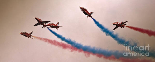 Red Arrows Art Print featuring the photograph Sky Dolphins by Angel Ciesniarska