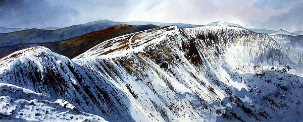 Helvellin Art Print featuring the painting Striding Edge Leading To Helvellin Sumit by Paul Dene Marlor