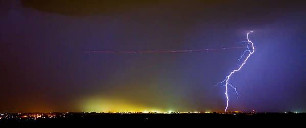 Lightning Art Print featuring the photograph Jet Over Colorful City Lights And Lightning Strike Panorama by James BO Insogna