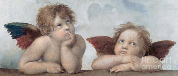 Putto Art Print featuring the painting Putti Detail From The Sistine Madonna by Raphael