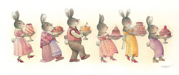 Rabbit Birthday Delicious Animal Holiday Food Art Print featuring the painting Rabbit Marcus The Great 11 by Kestutis Kasparavicius