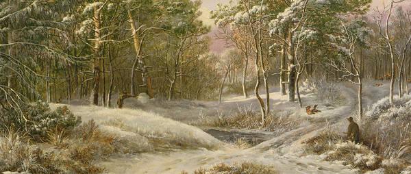 Sportsmen Art Print featuring the painting Sportsmen In A Winter Forest by Pieter Gerardus van