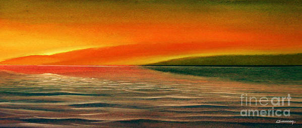 Sunset Art Print featuring the painting Sunrise Over The Sea by Christian Simonian