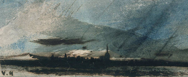 Town At Dusk (pen & Ink And W/c On Paper) Twilight Print featuring the painting Town At Dusk by Victor Hugo