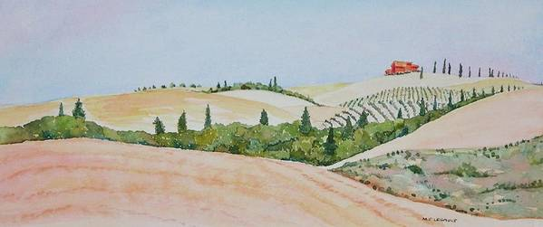 Landscape Art Print featuring the painting Tuscan Hillside One by Mary Ellen Mueller Legault