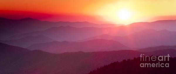 Great Smokie Mountains Sunset Art Print featuring the photograph Great Smokie Mountains Sunset by Dustin K Ryan