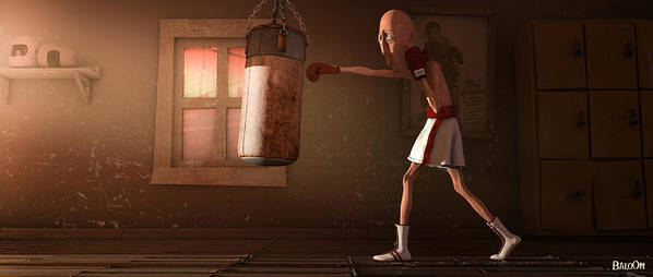 Boxer Art Print featuring the digital art Danfer In Training by BaloOm Studios
