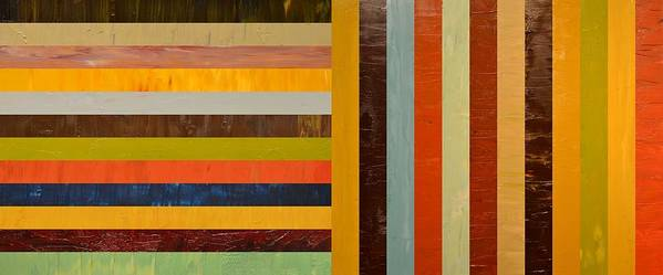 Abstract Print featuring the painting Panel Abstract - Digital Compilation by Michelle Calkins