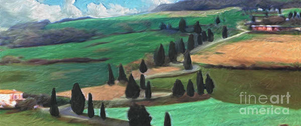 Tuscany Art Print featuring the digital art The Hill by Peggy Starks