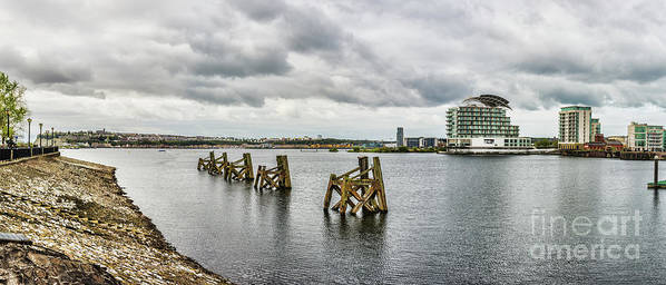 Cardiff Bay Art Print featuring the photograph Cardiff Bay Panorama by Steve Purnell