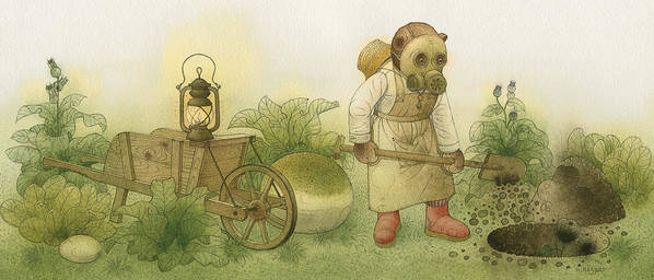 Bears Night Garden Dark Black Roses Flowers Green Magic Art Print featuring the painting Florentius The Gardener 28 by Kestutis Kasparavicius