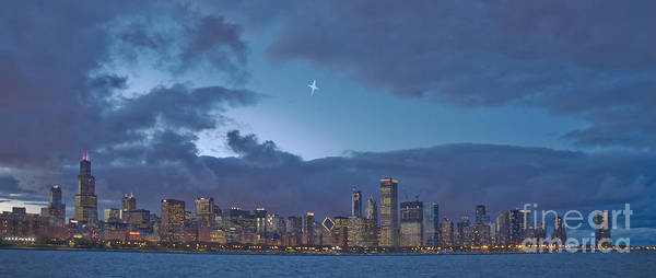 Chicago Art Print featuring the photograph Star Over Chicago by Jim Wright