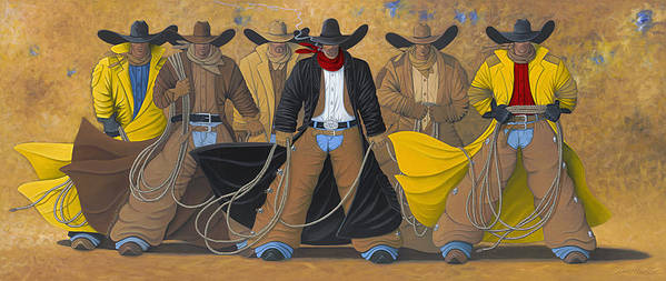 Large Cowboy Painting Of Six Cowboys. Art Print featuring the painting The Posse by Lance Headlee